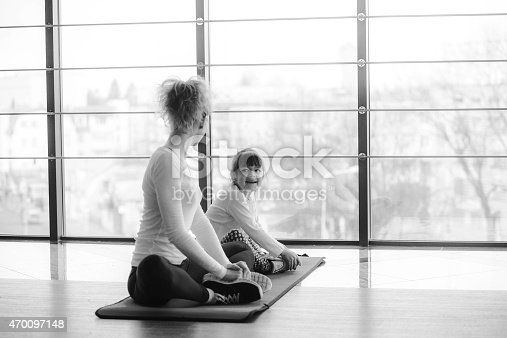 istock Charming family spends time in the gym 470097148