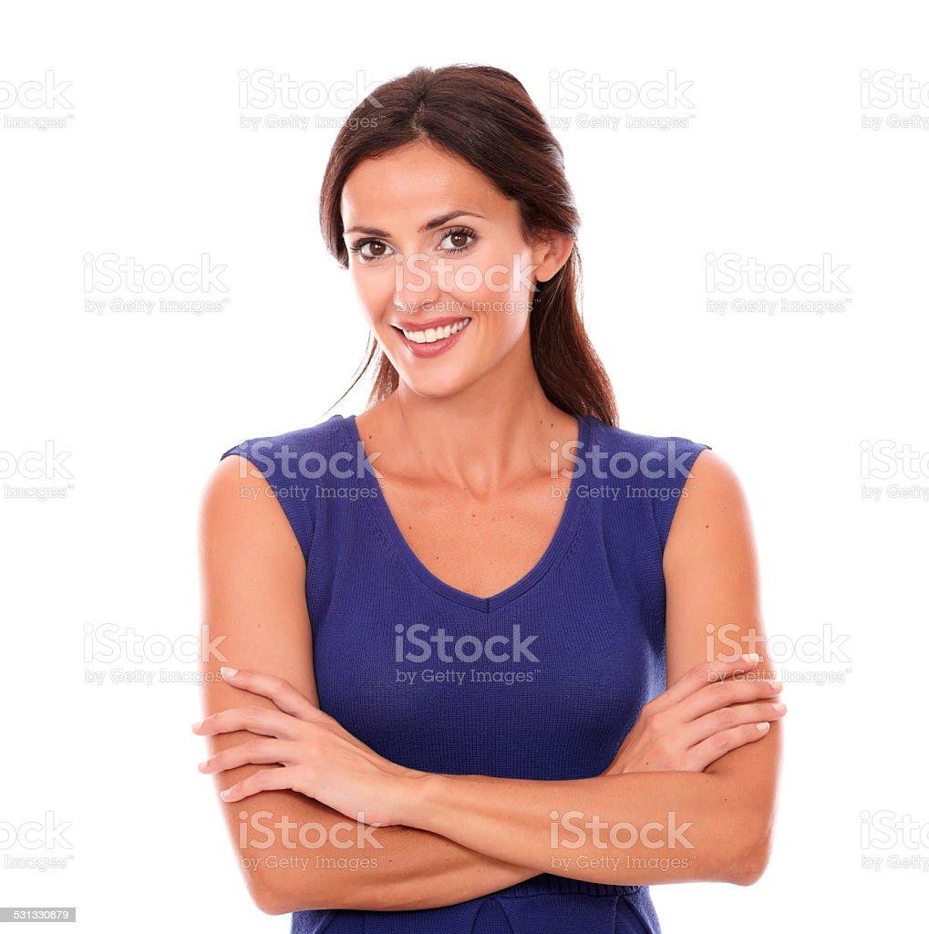 Charmante femme heureuse souriant et à la recherche - Photo