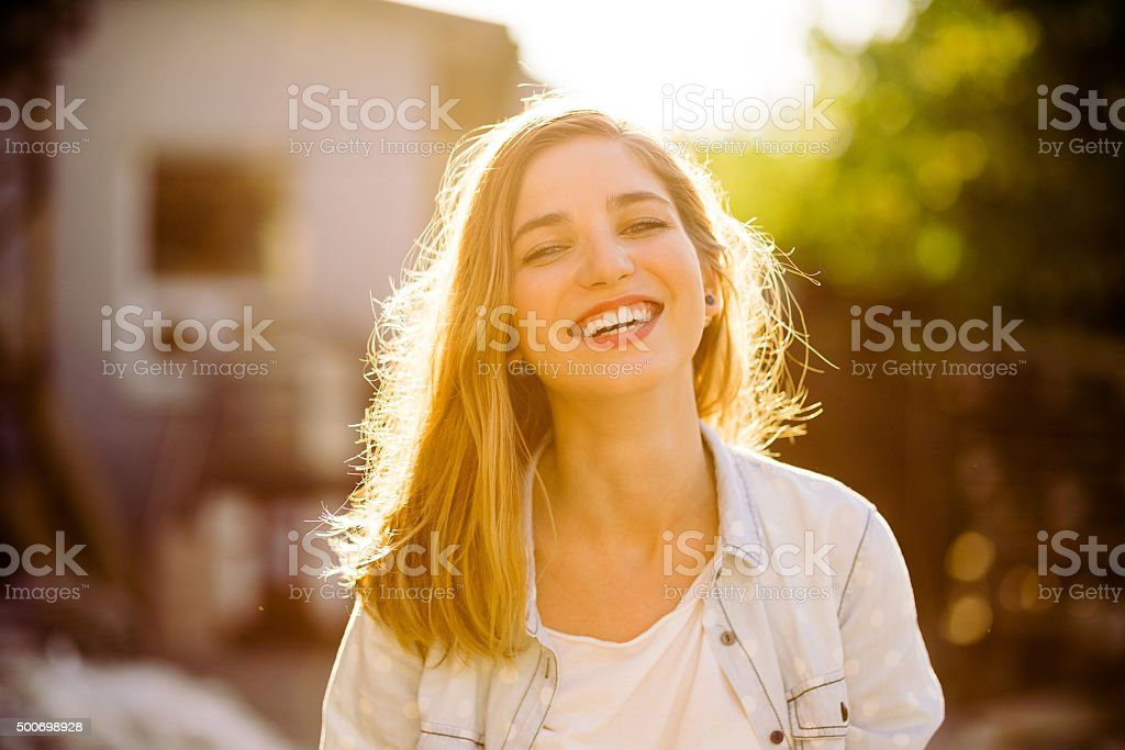 Charming girl smiling stock photo