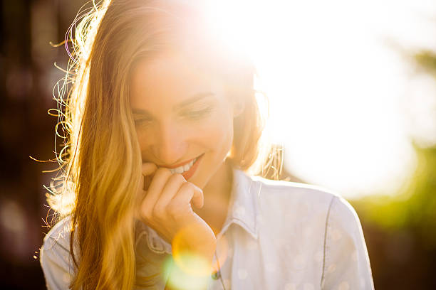 charming girl smiling - charming stock photos and pictures