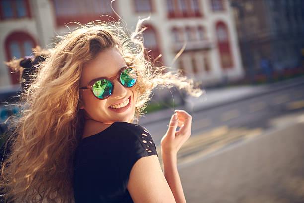 Charming girl smiling stock photo