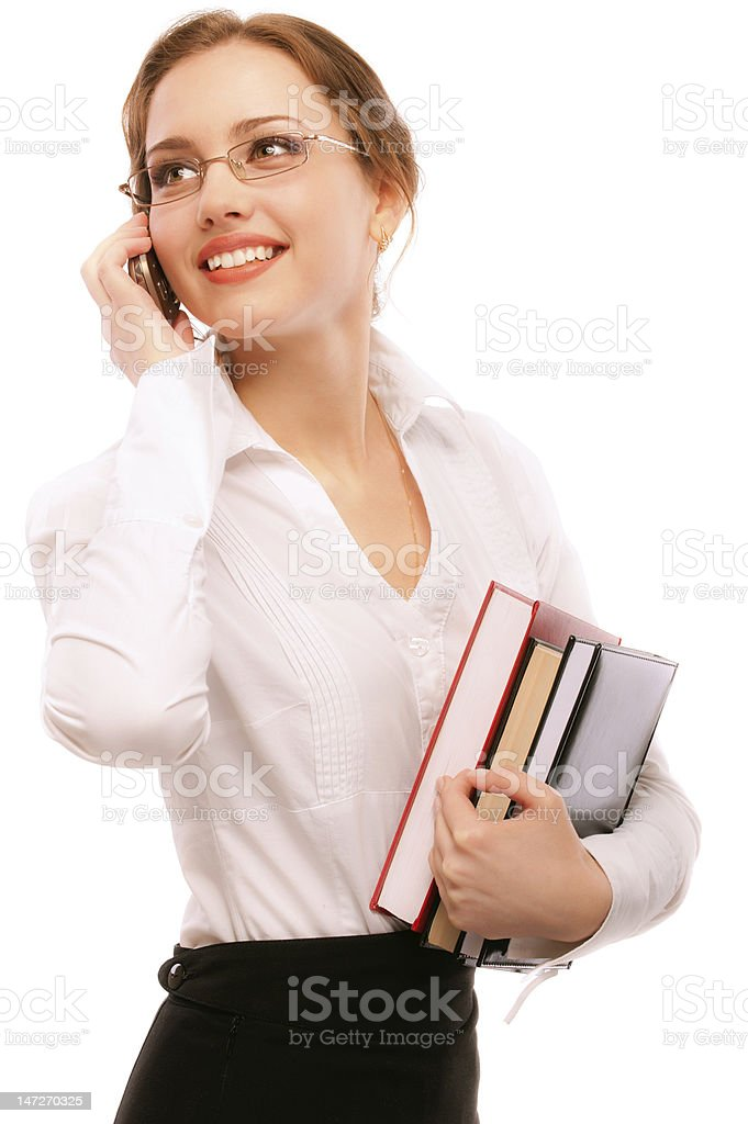 Charming girl-student speaks  by phone royalty-free stock photo