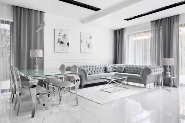 Charming gray living room stock photo