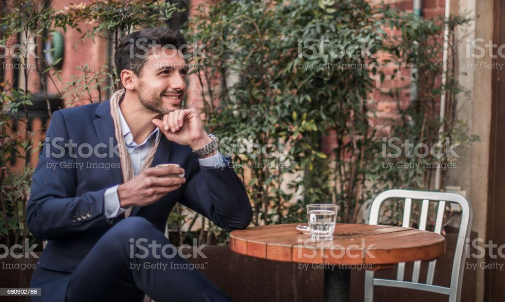 Charming guy on coffee break royalty-free stock photo