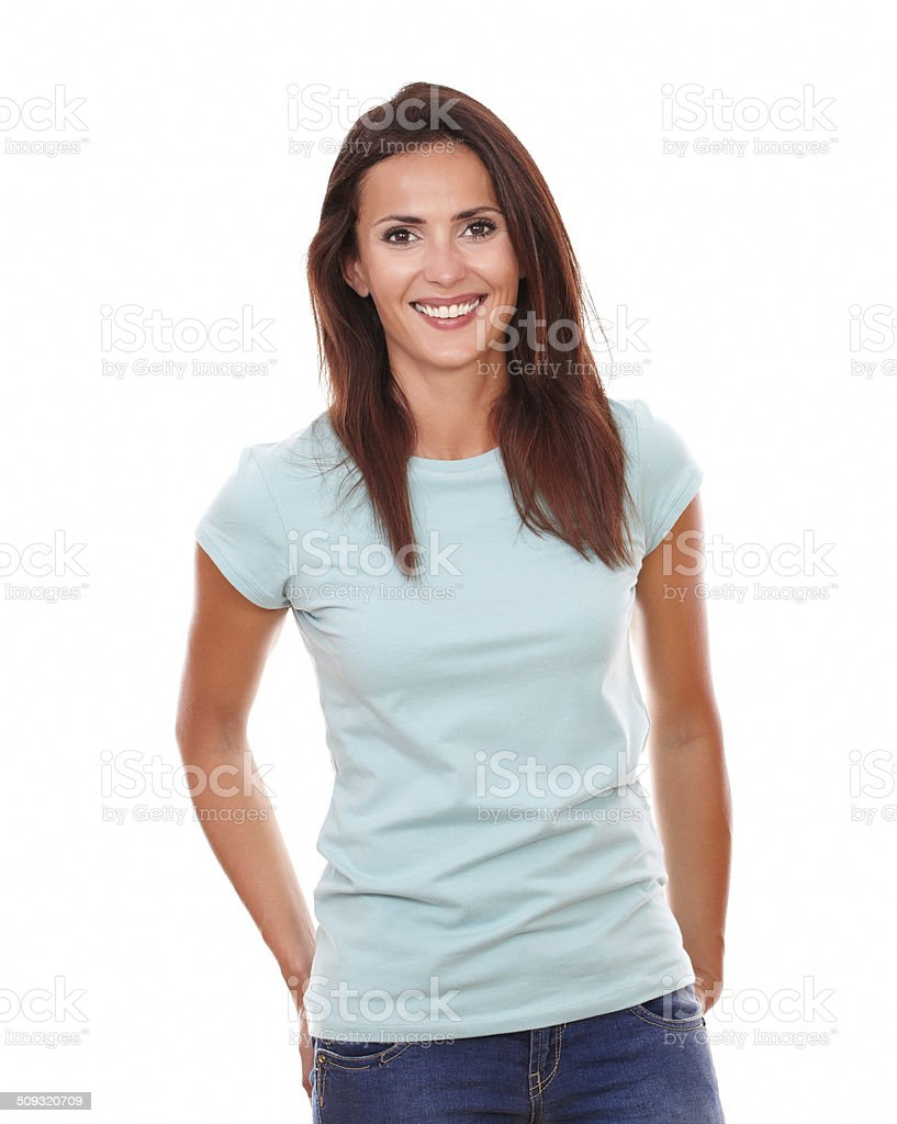 Charming hispanic woman smiling at you stock photo