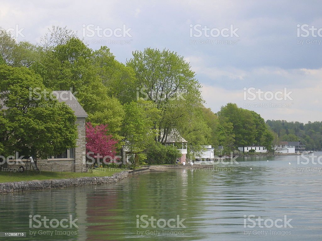 Charming homes on lake royalty-free stock photo