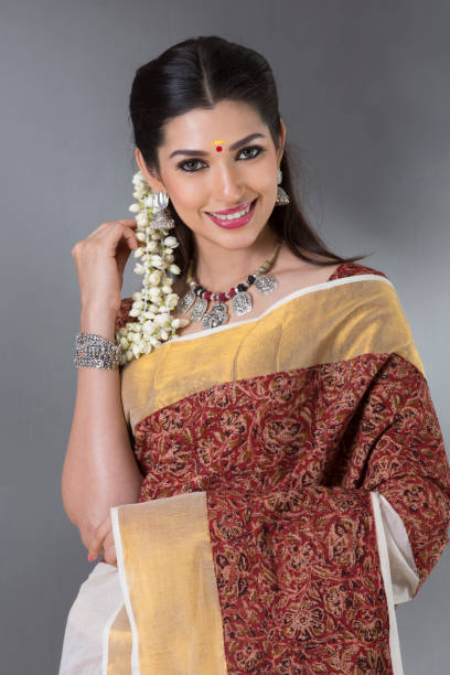 charming Indian woman in traditional saree stock photo