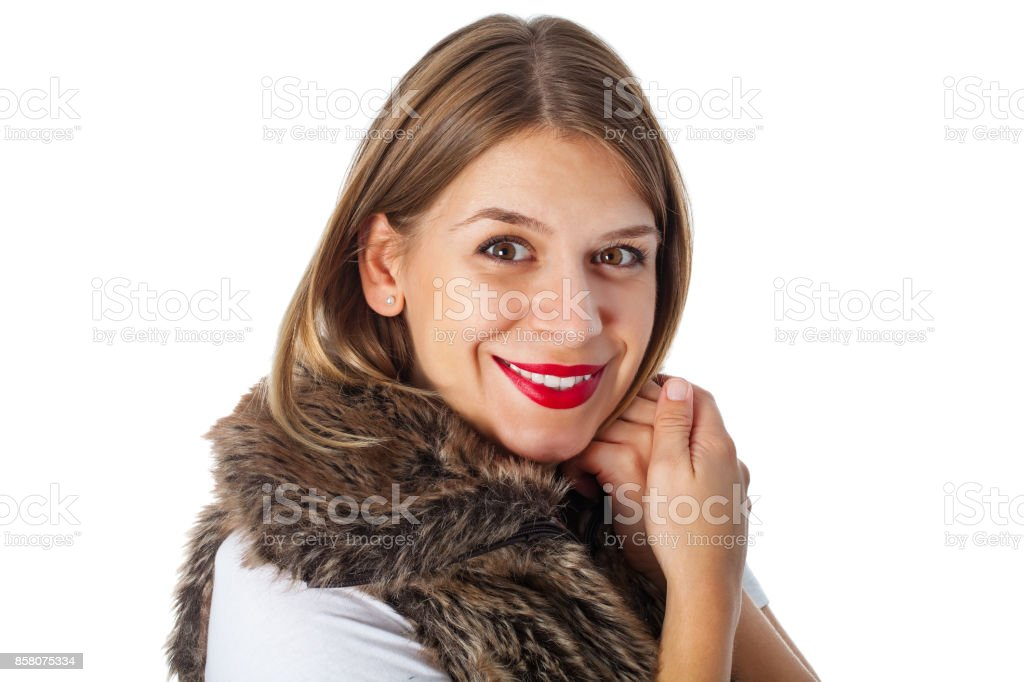 Charming lady with fur vest stock photo