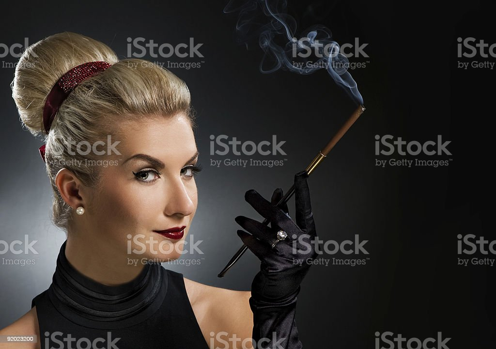 Charming lady with mouthpiece royalty-free stock photo