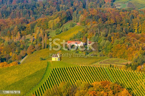 istock Charming little church in South Styria (Austrian Tuscany), a famous region on the border between Austria and Slovenia with rolling hills, vineyards, picturesque villages and wine taverns 1286167919