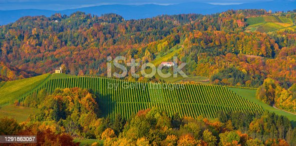 istock Charming little church in South Styria (Austrian Tuscany), a famous region on the border between Austria and Slovenia with rolling hills, vineyards, picturesque villages and wine taverns 1291863057