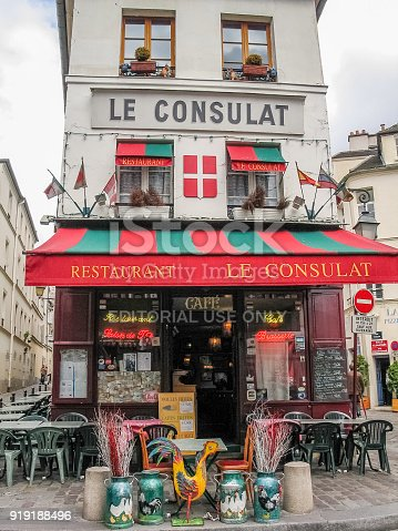 istock Charming little restaurant Le Consulat on Montmartre hill in Paris, France. 919188496