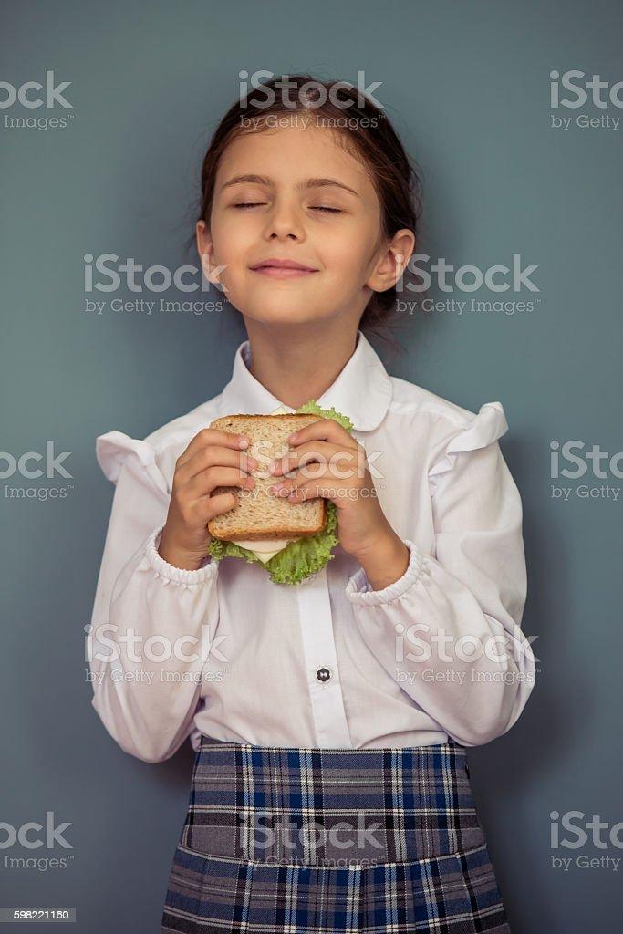 Charming little school girl foto royalty-free