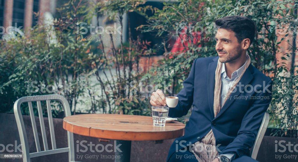 Charming man on coffee break royalty-free stock photo