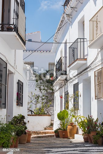 Charming Narrow Historic Streets Of White Village Frigiliana Stock Photo & More Pictures of Andalusia