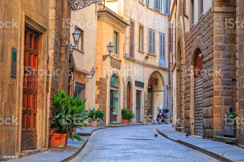 Charming narrow streets of Florence town stock photo