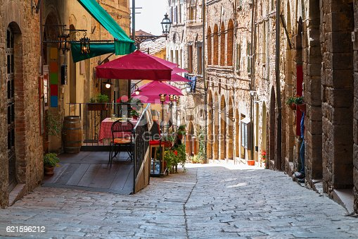 Charming narrow streets of Volterra town in Tuscany, Italy