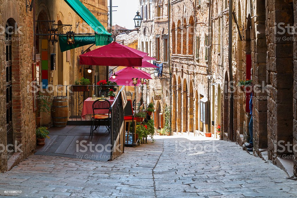 Charming narrow streets of Volterra town stock photo