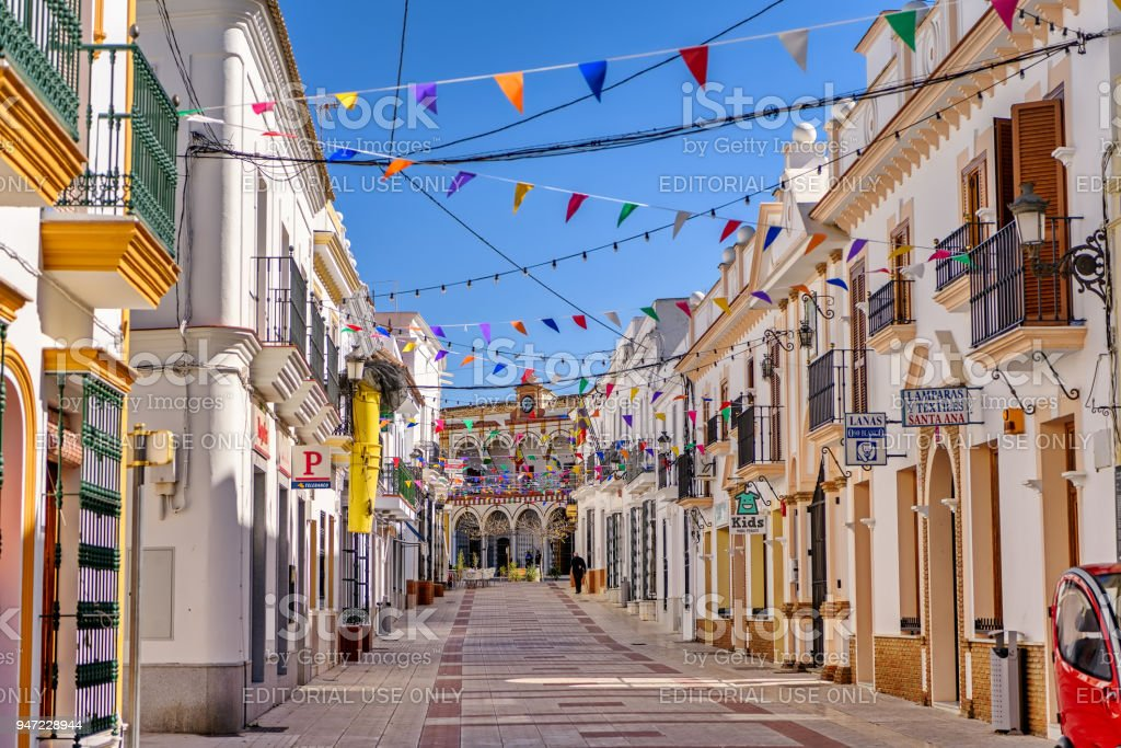 Charming old town Moguer in Andalusia, Spain. stock photo
