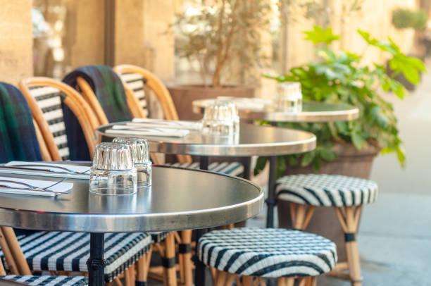 Charming parisian sidewalk cafe stock photo