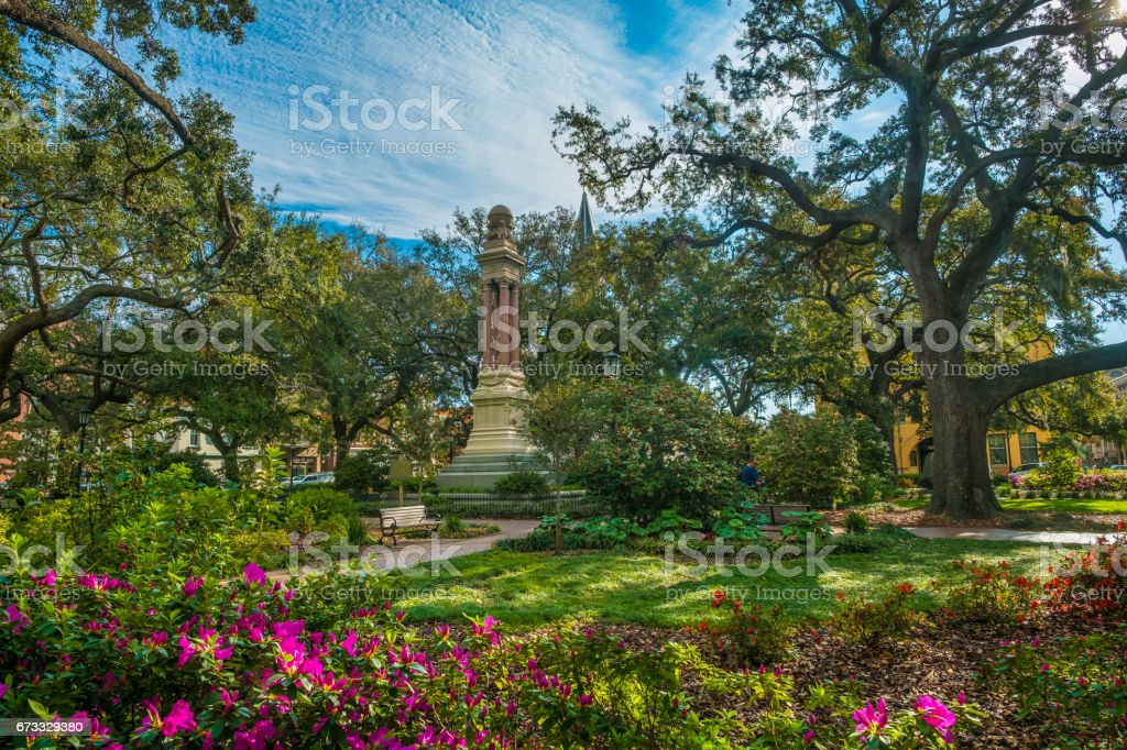 Charming parklike square (among the 22 squares) in the historic district of Savannah, Georgia, USA stock photo
