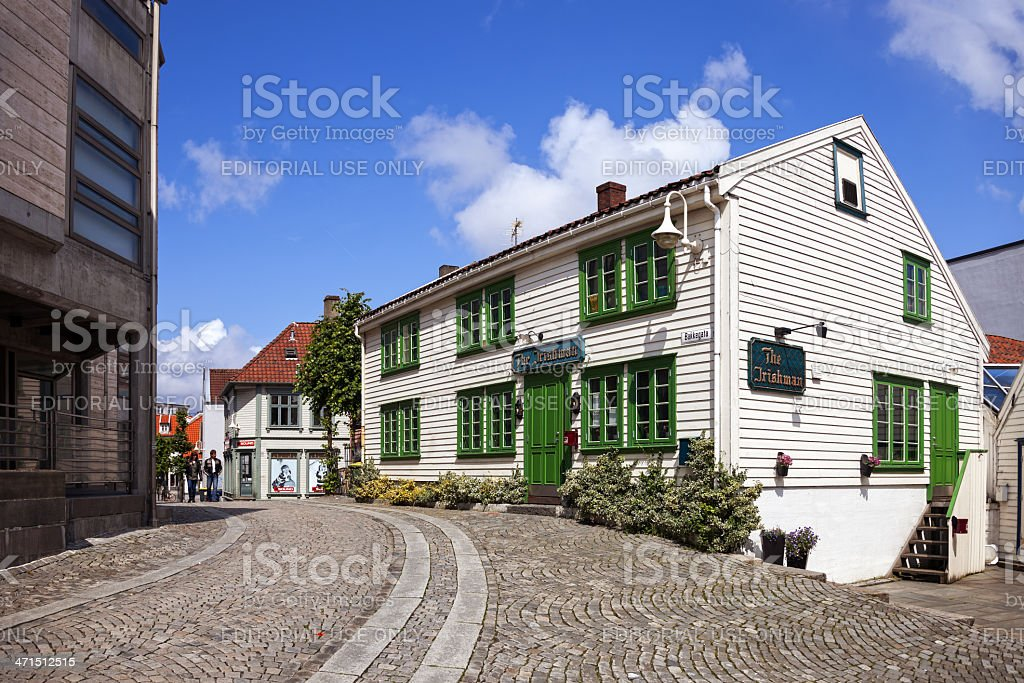 Charming street in Stavanger royalty-free stock photo
