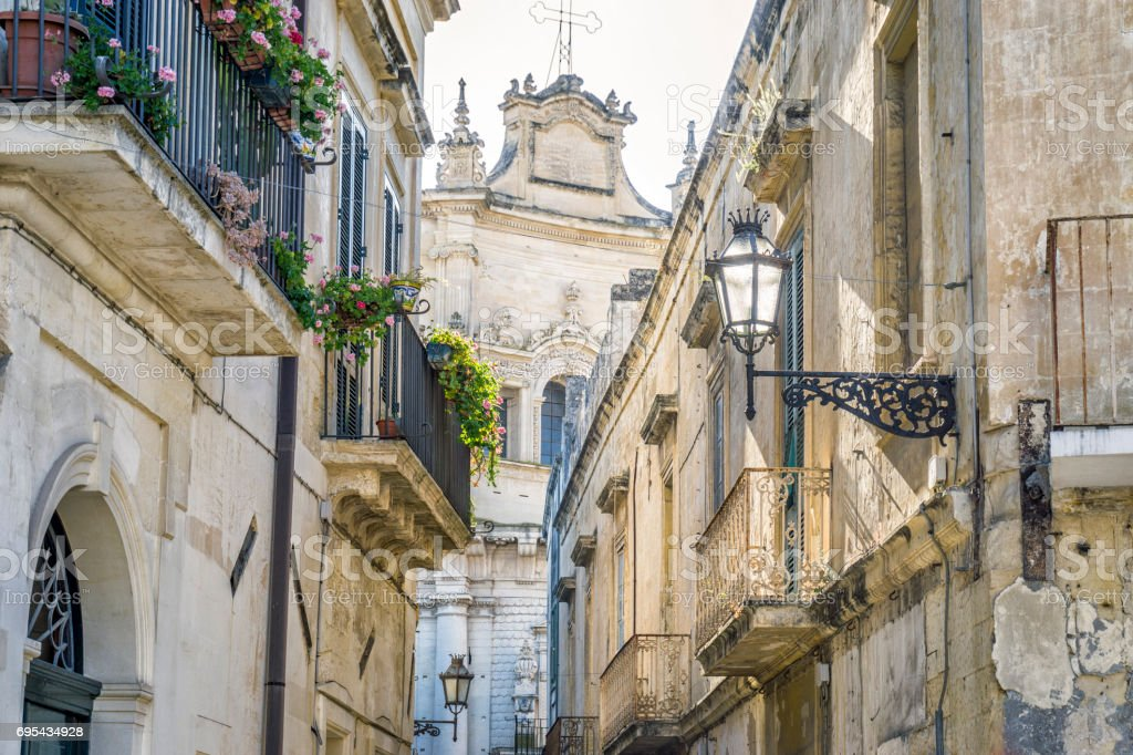 Charming street of historic Lecce, Puglia, Itly stock photo