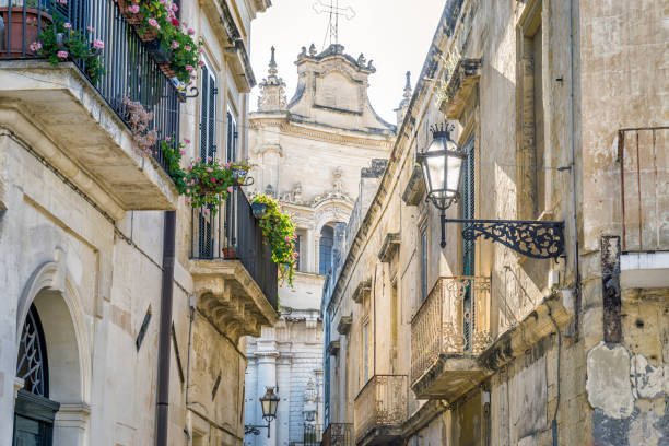Charming street of historic Lecce, Puglia, Itly Charming street with lanterns of historic Lecce, Puglia, Itly southern charm stock pictures, royalty-free photos & images