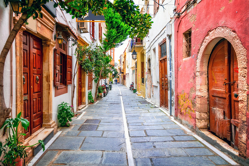 istock Charming streets of old town in Rethymno.Crete island, Greece 670521172