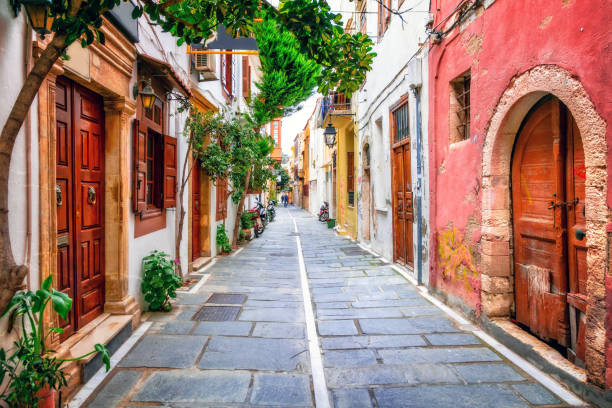 Charming streets of old town in Rethymno.Crete island, Greece Traditional street restaurants and streets of Greece. Crete island charming stock pictures, royalty-free photos & images