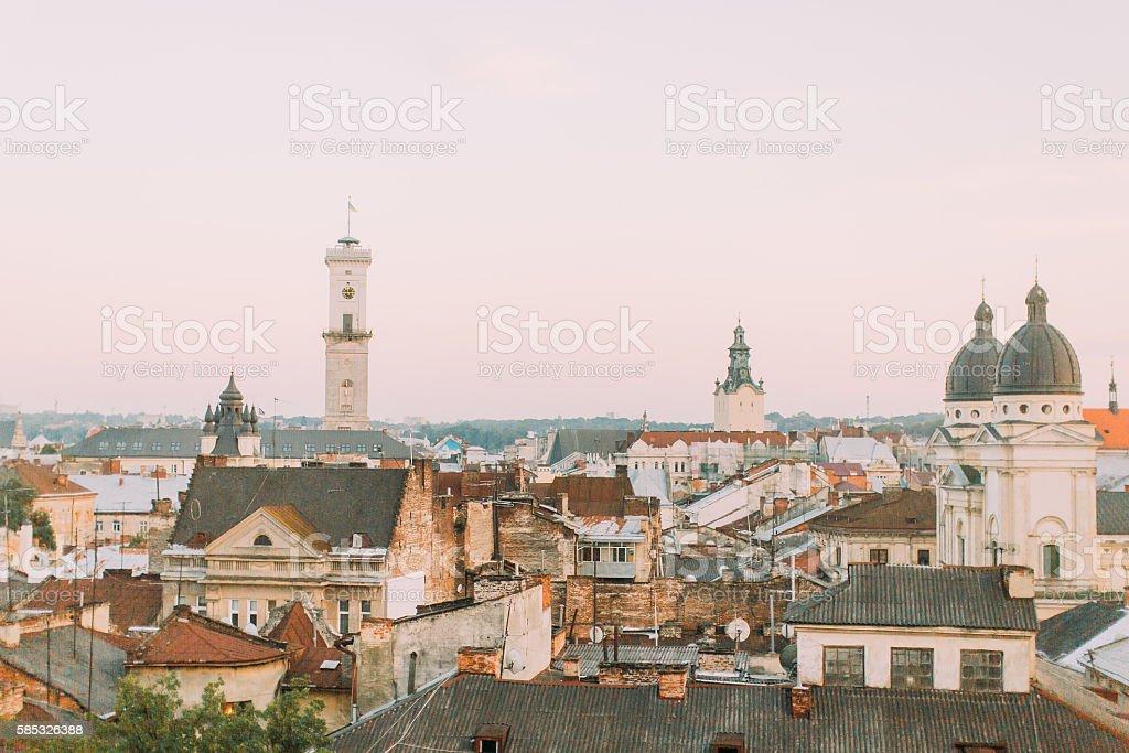 Charming sunny evening on european city streets, in Lviv Ukraine stock photo