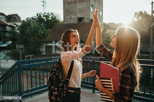 istock Charming teenage schoolgirls celebrating in the schoolyard 1049615414