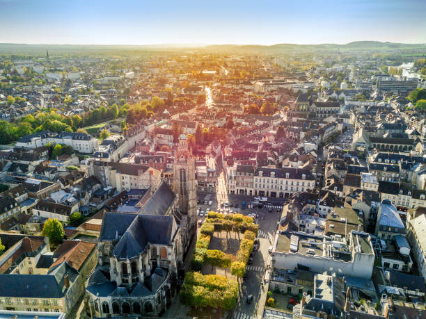 Charming town called Compiegne, Hauts-de-France, France Aerial view of charming town called Compiegne, Hauts-de-France, France hauts de france stock pictures, royalty-free photos & images