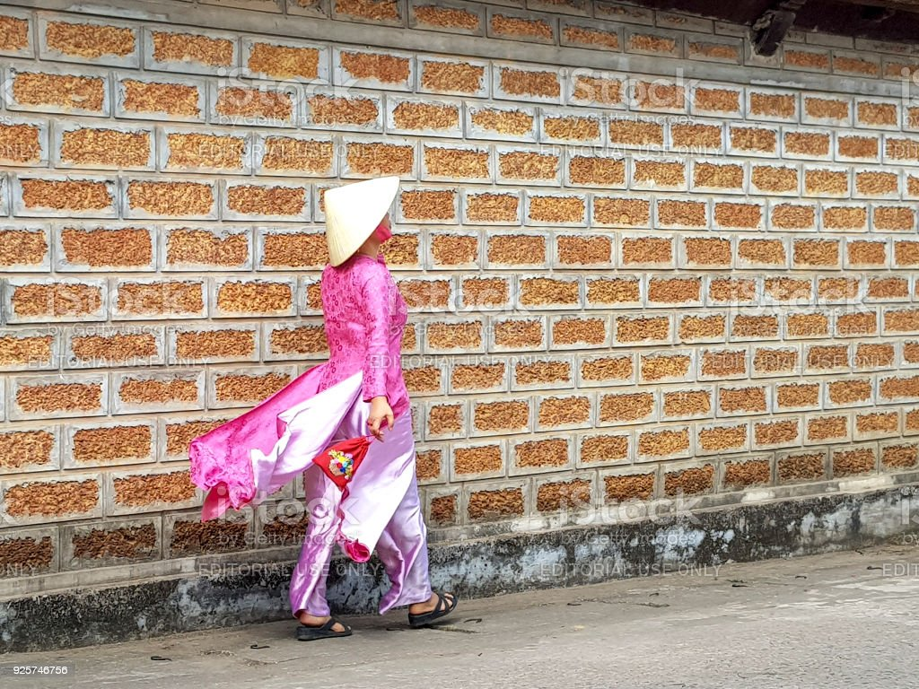 A charming woman in a traditional ao dai in the ancient village of Duong Lam stock photo