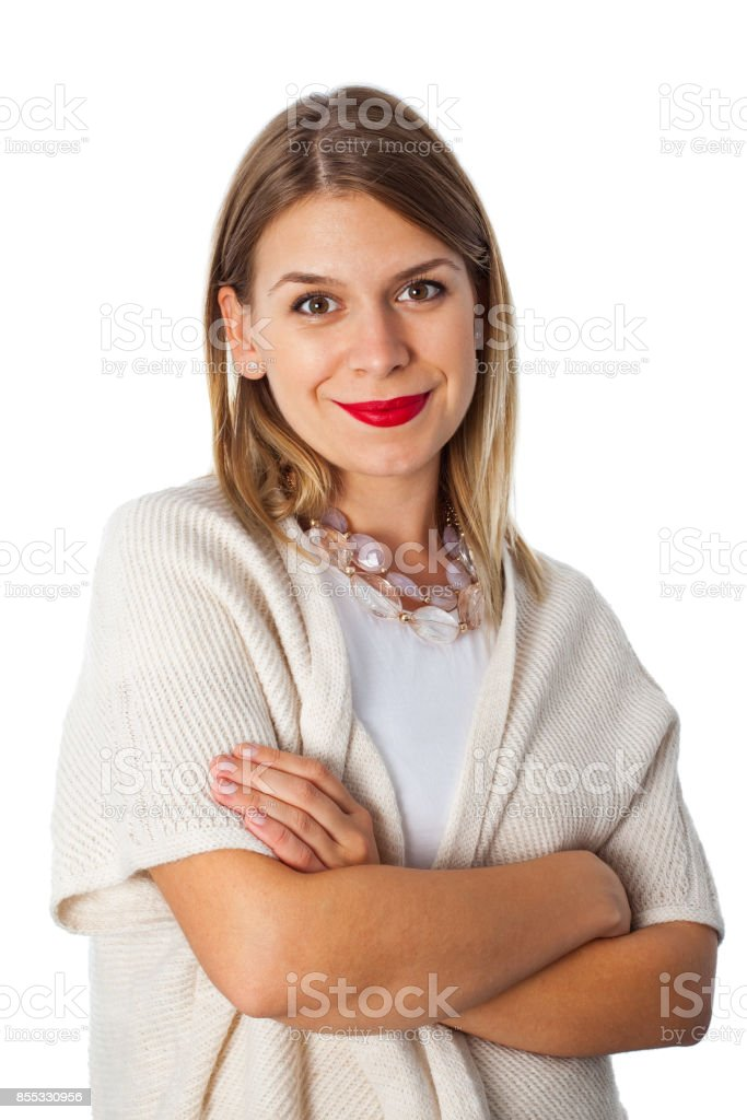 Charming woman with beige knitwear stock photo