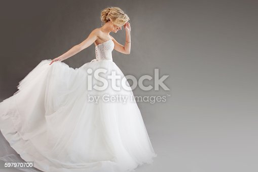 Charming Young Bride In Luxurious Wedding Dress Pretty Girl In Stock ...