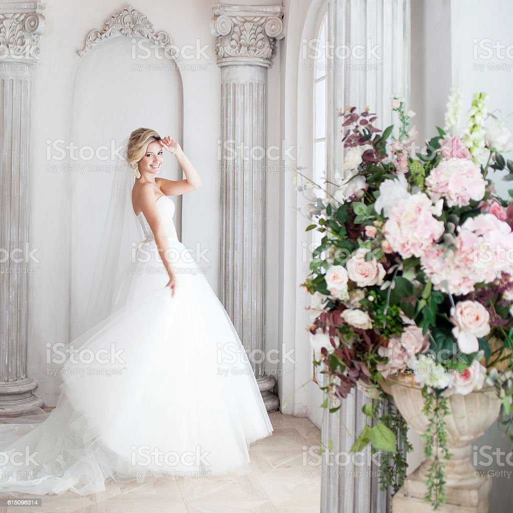 Charming young bride in luxurious wedding dress. Pretty girl, is - foto de stock