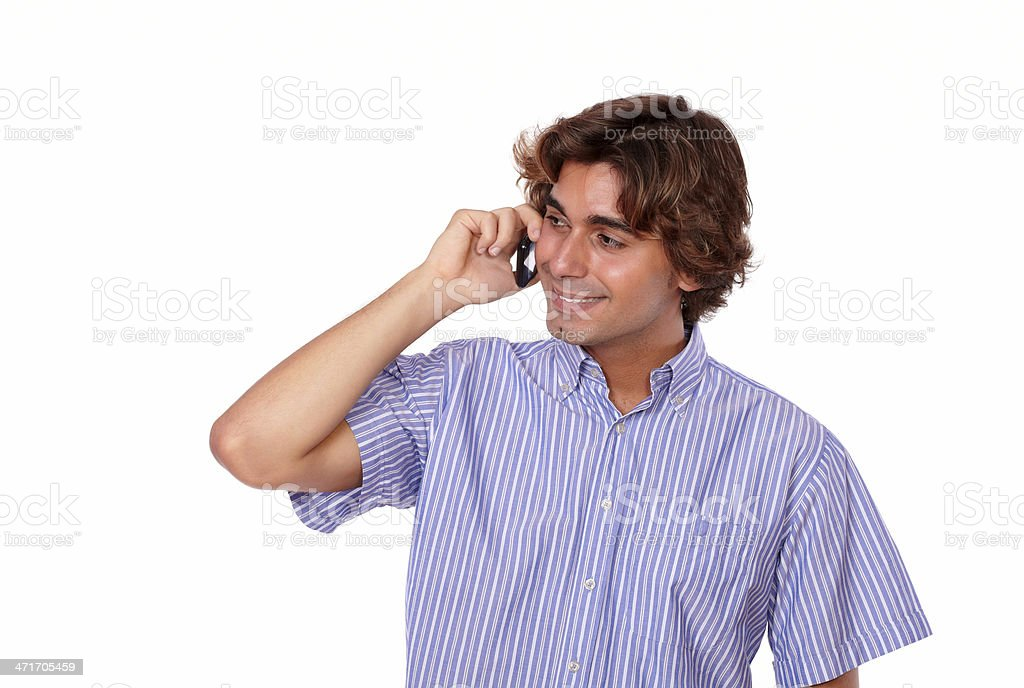 Charming young man talking on cellphone royalty-free stock photo