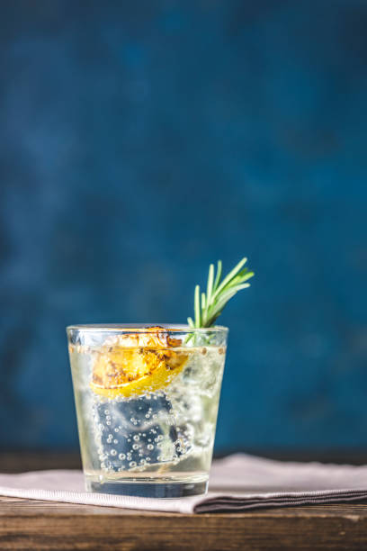 Charred Lemon, Rosemary and Coriander Gin and Tonic is a flavors are perfectly balanced refreshing cocktail. on dark background, close up. stock photo