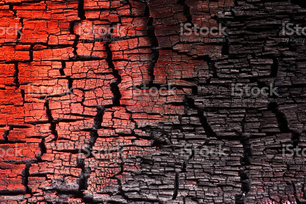 Charred wood texture, painted with light. – Foto