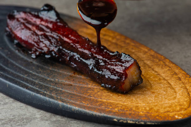 Char-Siew carne de porco comida asiática - foto de acervo