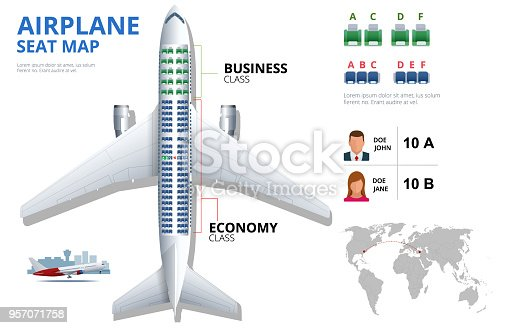 istock Chart airplane seat, plan, of aircraft passenger. Aircraft seats plan top view. Business and economy classes airplane indoor information map. Vector illustration of Plane on ultraviolet background 957071758