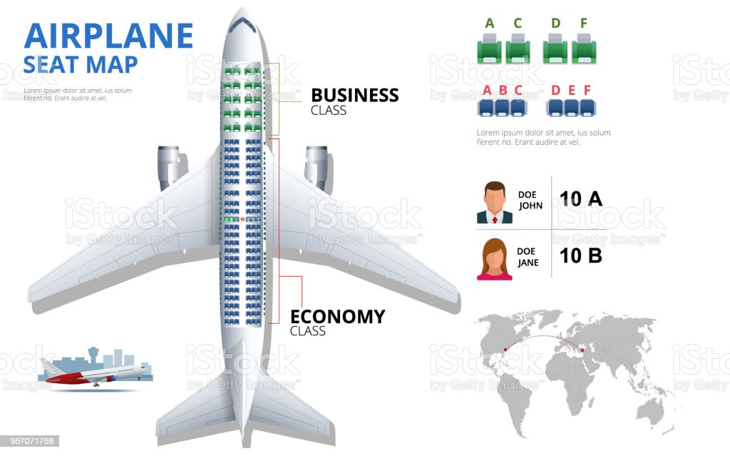 Chart airplane seat, plan, of aircraft passenger. Aircraft seats plan top view. Business and economy classes airplane indoor information map. Vector illustration of Plane on ultraviolet background стоковое фото