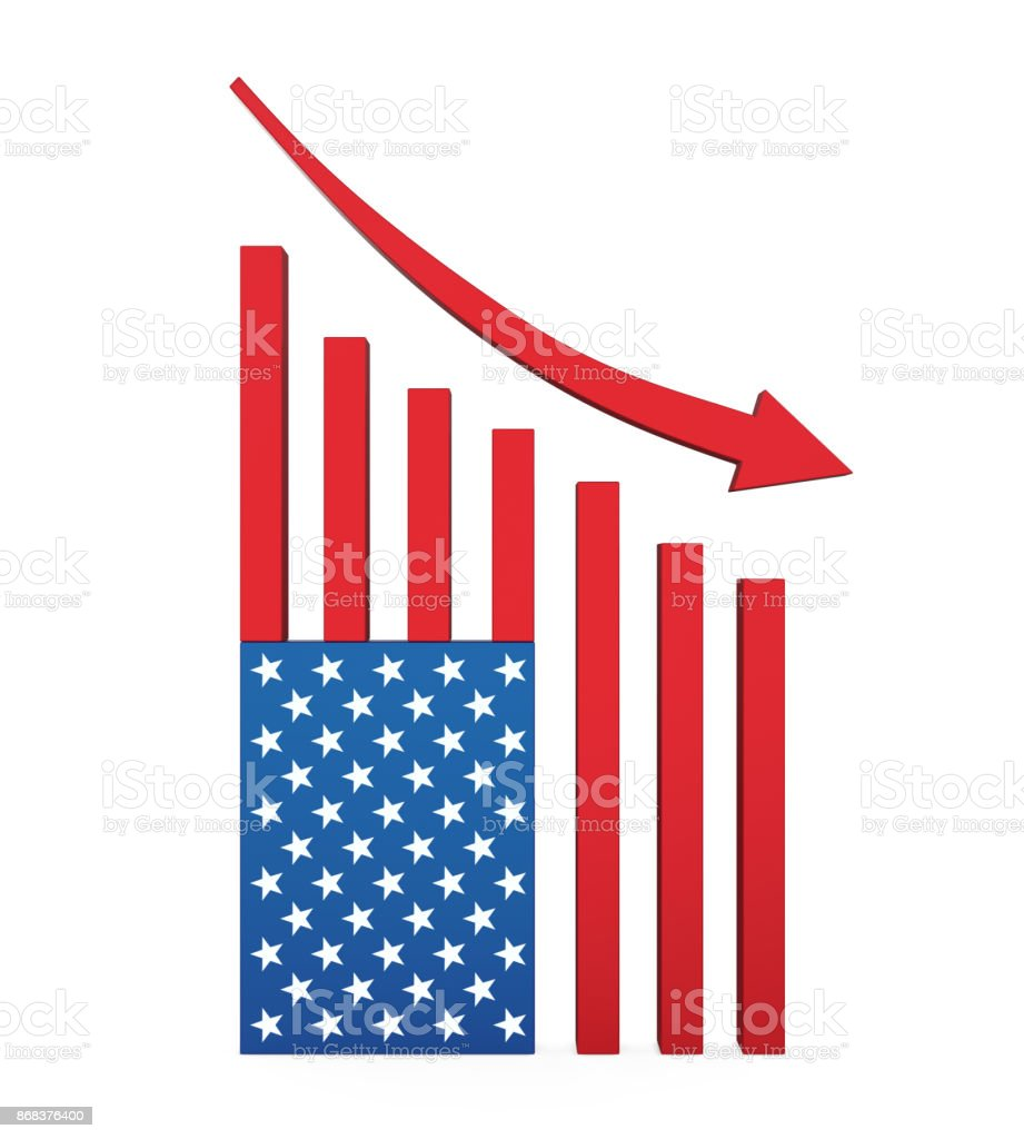 Chart American Flag with Arrow Down stock photo