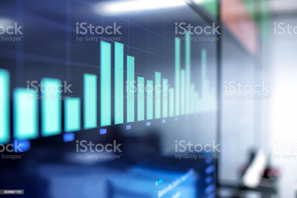 chart board with business data stock photo