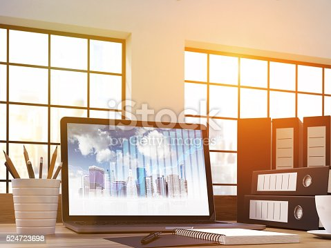 Closeup up of office workplace with business chart and buildings on laptop screen. 3D Rendering