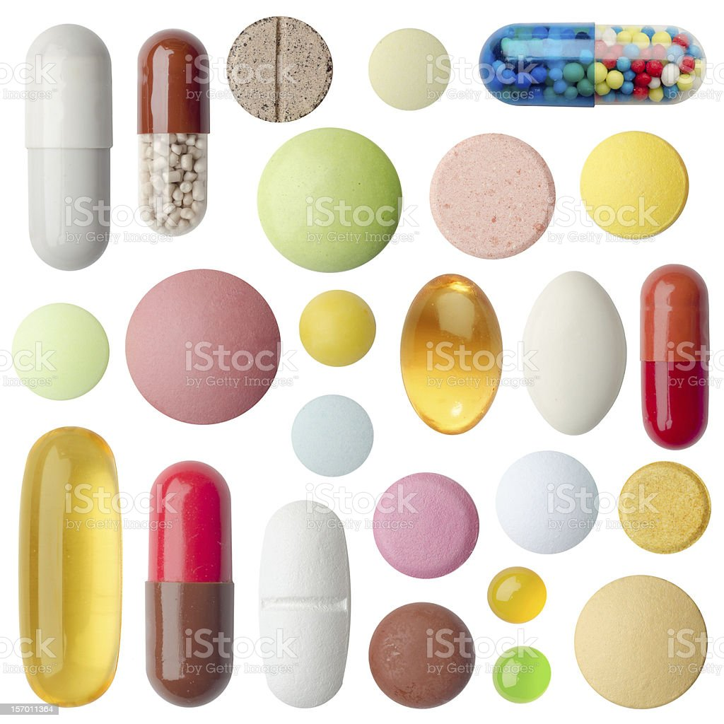 Chart depicting several different types of pills stock photo