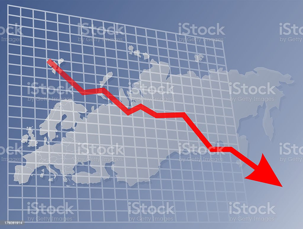 Chart Europe down royalty-free stock photo