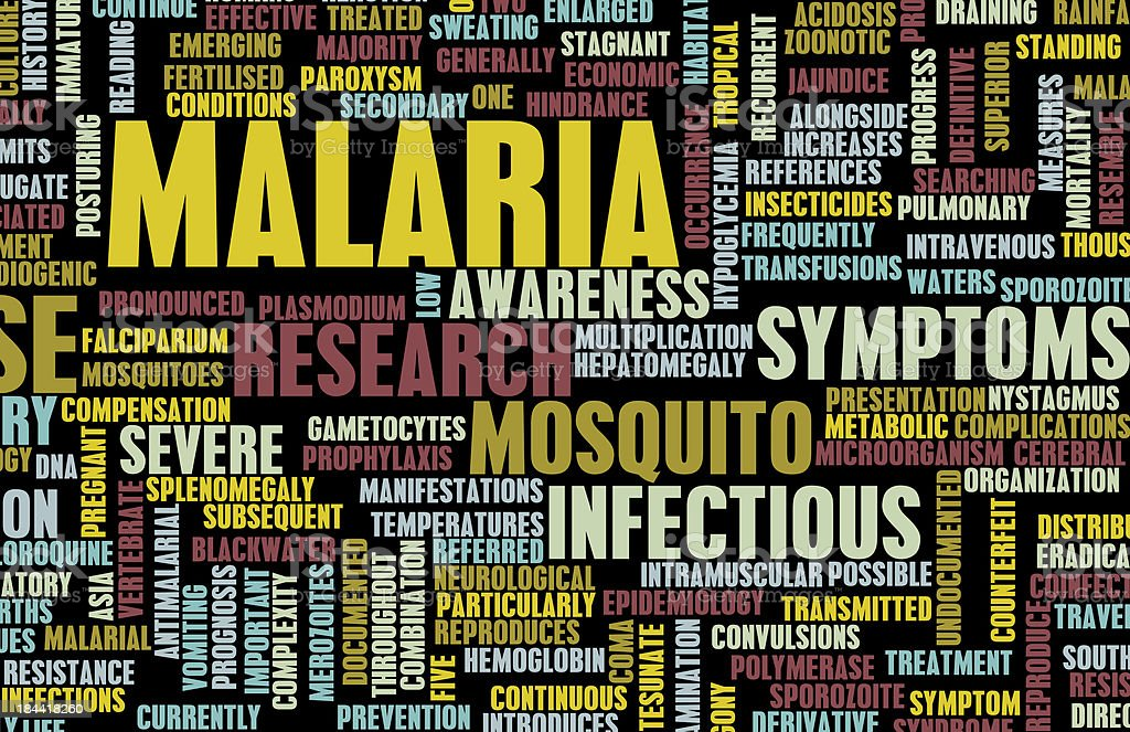 A chart full of words related to malaria stock photo