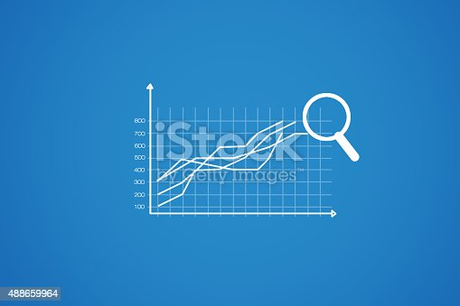 511722788 istock photo chart into a magnifying glass on a blue background 488659964
